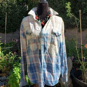 Lucky western ooak bleached shirt. L
